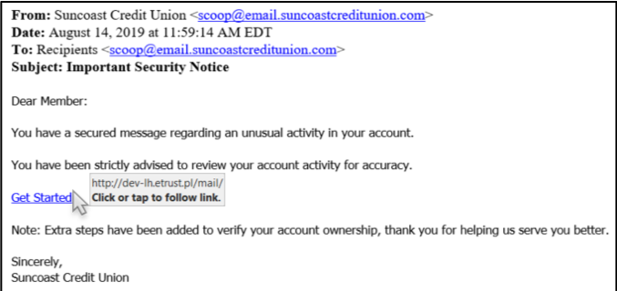 Scam, phishing email targeting members