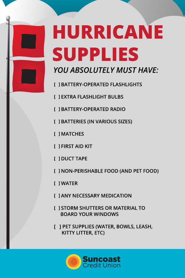 A checklist of hurricane supplies you need to keep on hand.