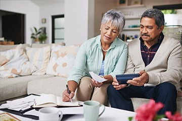 Compare your estimated earnings with your retirement goals to help determine what age would be best for you and your spouse to retire, even if it is at different times.