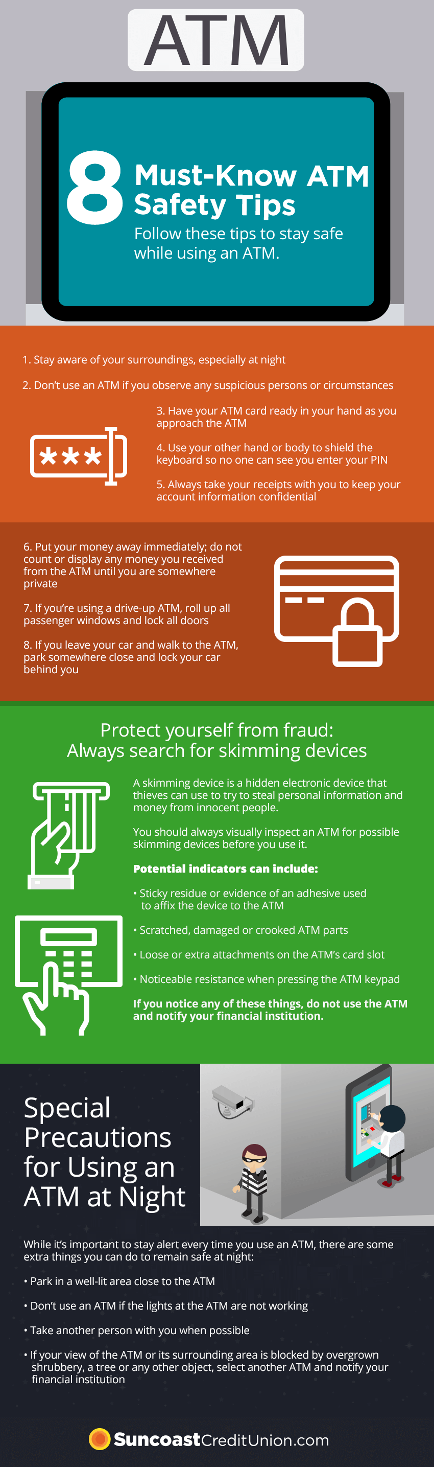 1.	Stay aware of your surroundings, especially at night 2.	Don't use an ATM if you observe any suspicious persons or circumstances 3.	Have your ATM card ready in your hand as you approach the ATM  4.	Use your other hand or body to shield the keyboard so no one can see you enter your PIN 5.	Always take your receipts with you to keep your account information confidential 6.	Put your money away immediately; do not count or display any money you received from the ATM until you are somewhere private 7.	If you're using a drive-up ATM, roll up all passenger windows and lock all doors  8.	If you leave your car and walk to the ATM, park somewhere close and lock your car behind you
