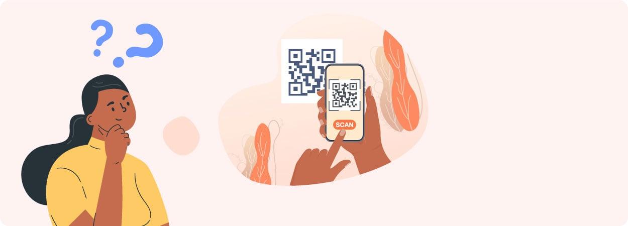 Una mujer pensando en escanear un código QR