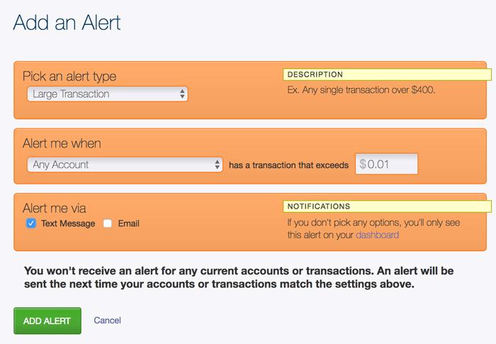 Configuraciones de alerta de SunMoney