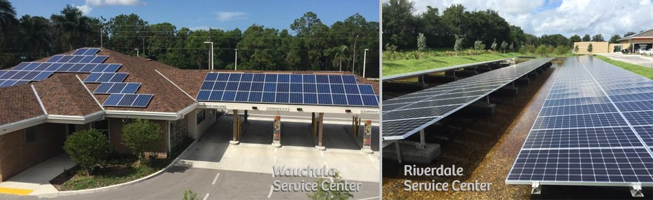 Suncoast Credit Union solar panels at its service centers