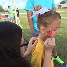 face painting at event in pasco county school