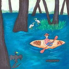 Obra de arte de una persona en un bote