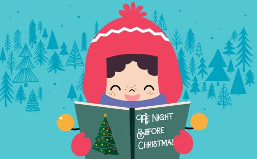 Young girl reading The Night Before Christmas