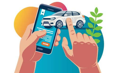 Car sale on mobile device