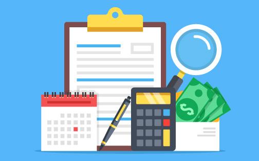 Calendario presupuestario, dinero, calculadora y hoja de programación