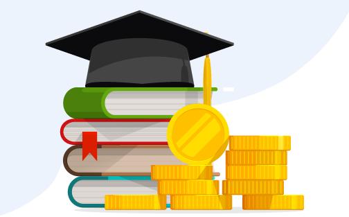 Sombrero de graduación con libros y dinero