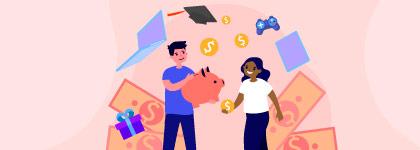 Muchacho y muchacha ahorrando dinero
