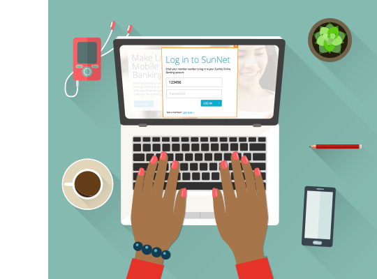 Log in to SunNet Online Banking