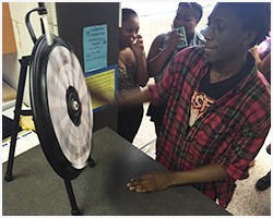 Students try their luck on the Financial Wheel