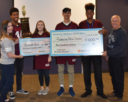 Brandon High School students pose with winning check and Suncoast Credit Union staff