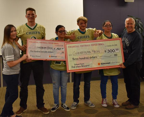 Chamberlain High School students pose with winning check and Suncoast Credit Union staff