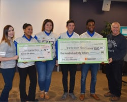 Jefferson High School students pose with winning check and Suncoast Credit Union staff