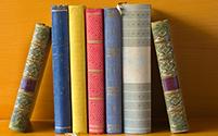 Libros de biblioteca sobre un estante